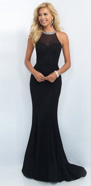 black bodycon maxi dress fish star