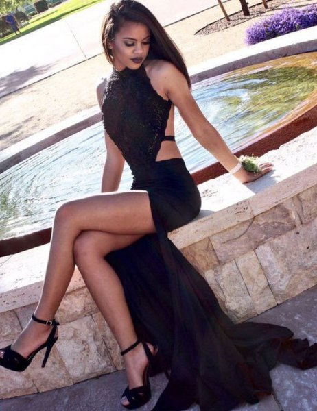 double slit black backless mermaid dress