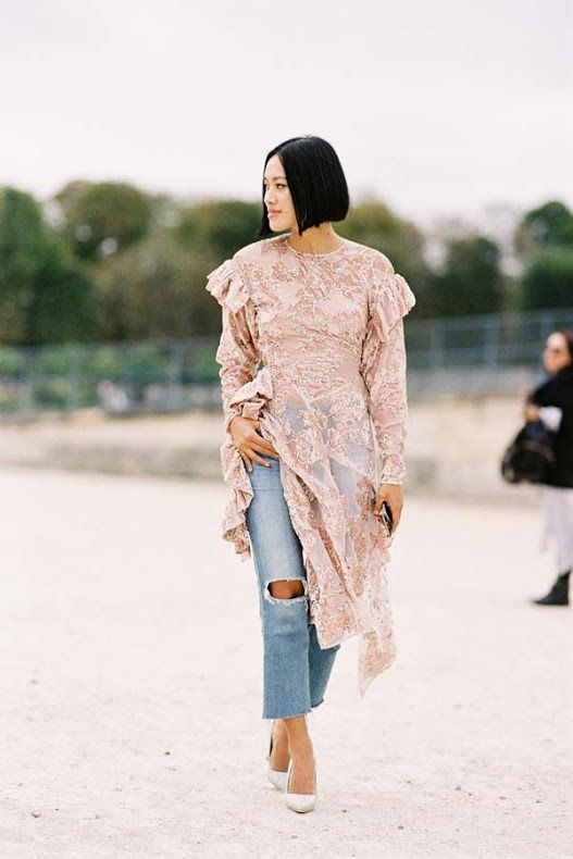 blush pink dress lace over jeans