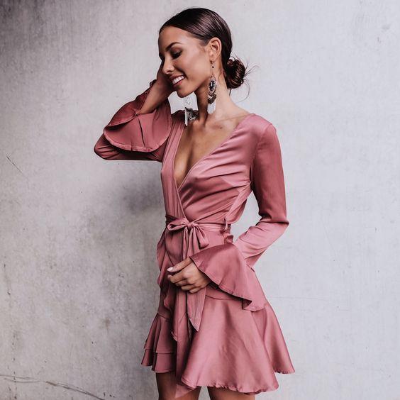 rouge pink dress mini ruffle