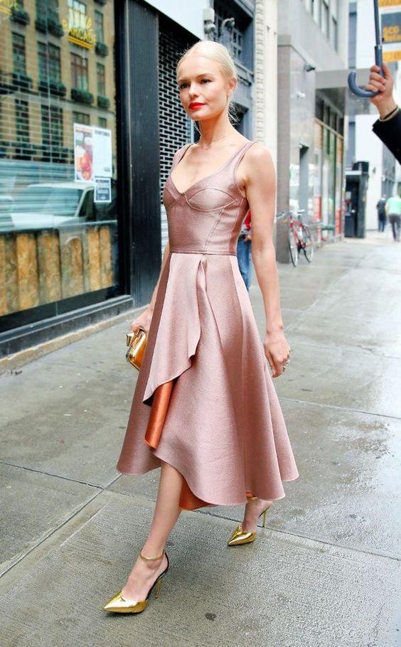 reddish pink dress ladylike