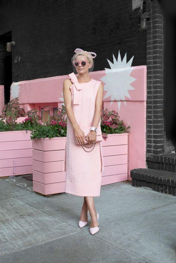 rouge pink dress retro vibes