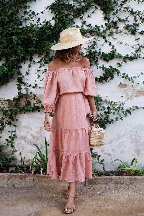 blush pink dress ruffles summertime
