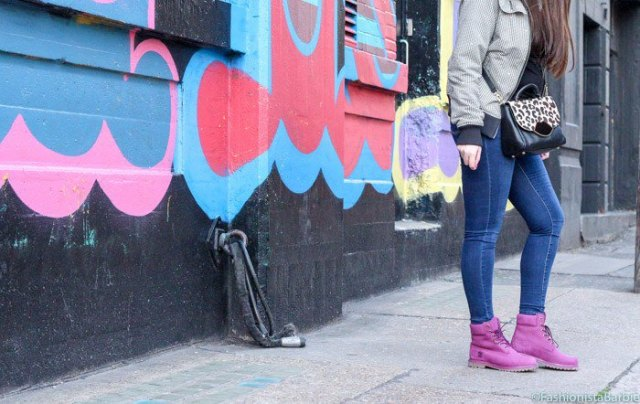pink boots gray bomber jacket skinny jeans