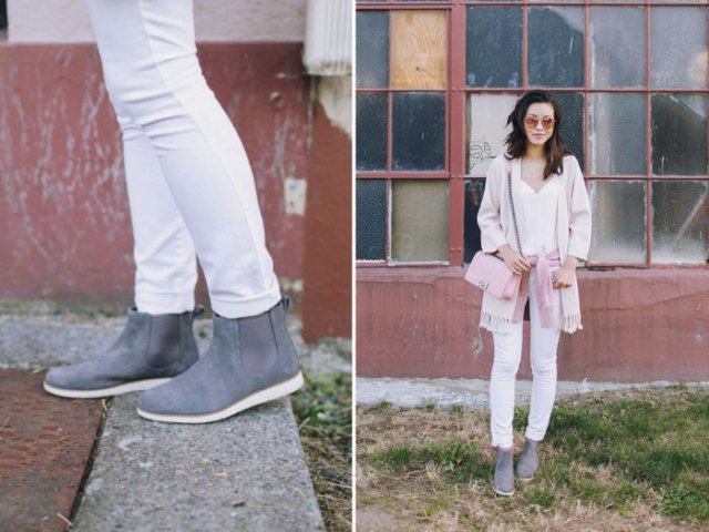 pink chelsea timerland boots light gray felt cardigan