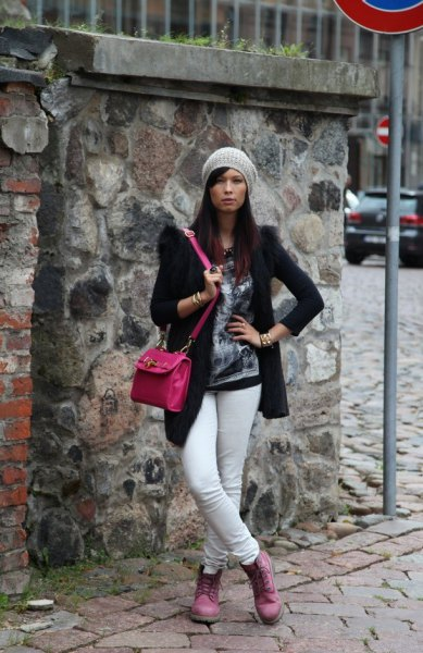 black wool coat white skinny jeans