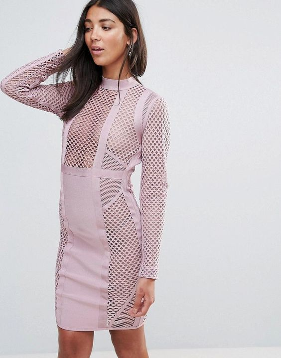pink bandage dress fishing net panels
