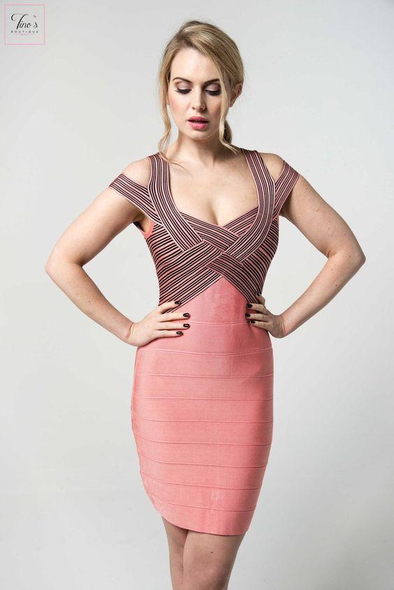 pink bandage dress striped bodice