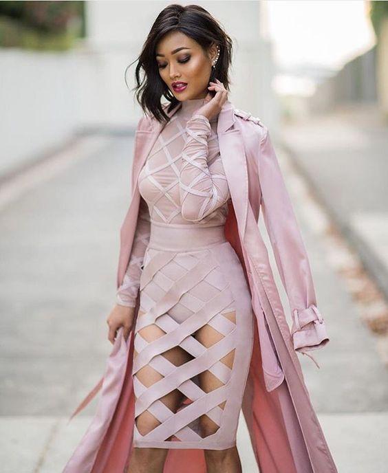 pink bandage dress cut out