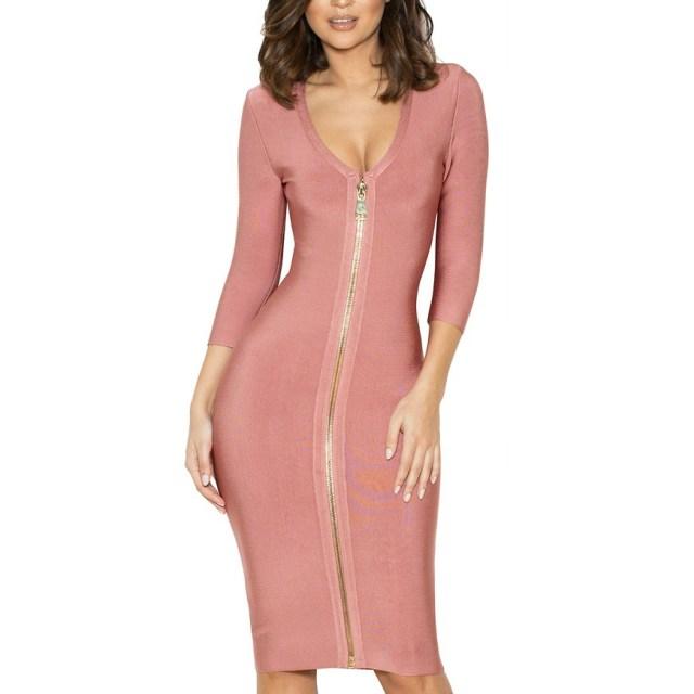 pink bandage dress zipper