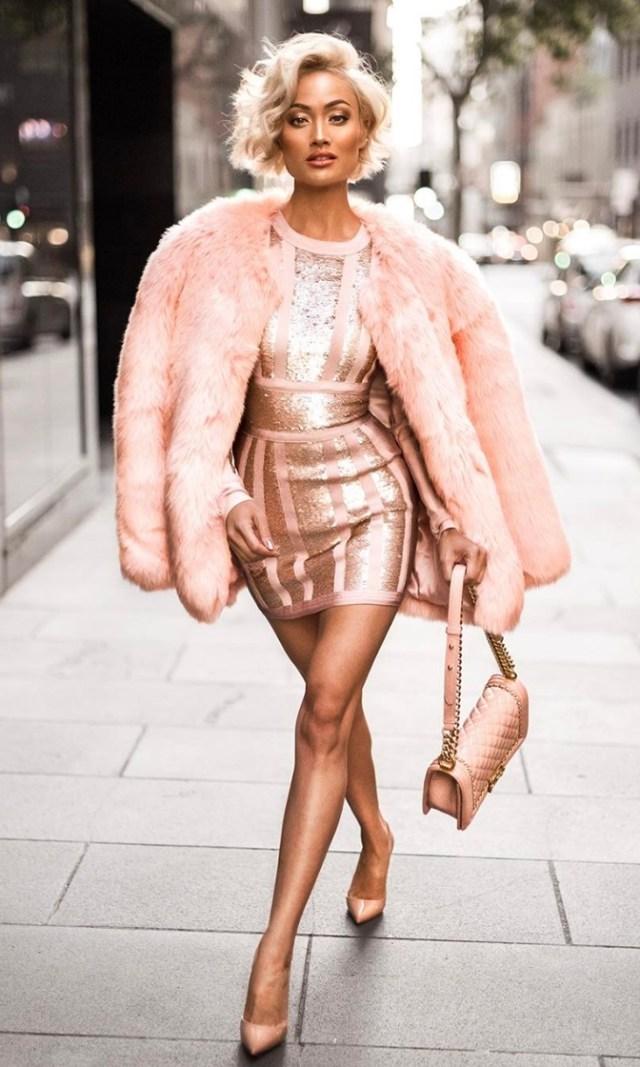 pink bandage dress sequins