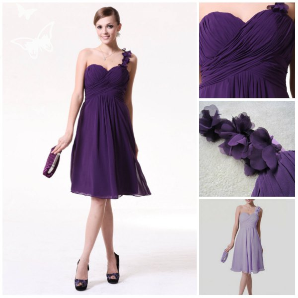 simple strap purple empire waist bridesmaid dress