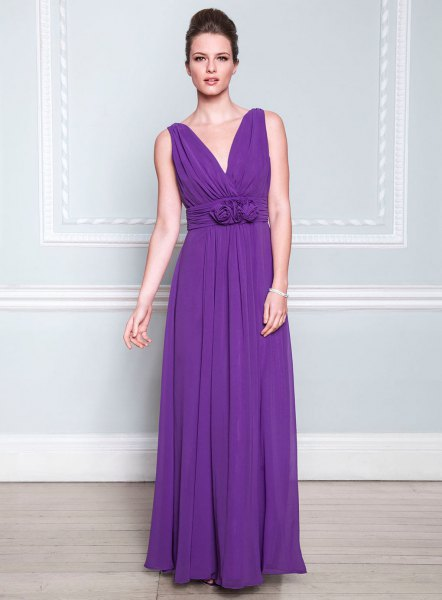 purple deep v-neck bridesmaid dress