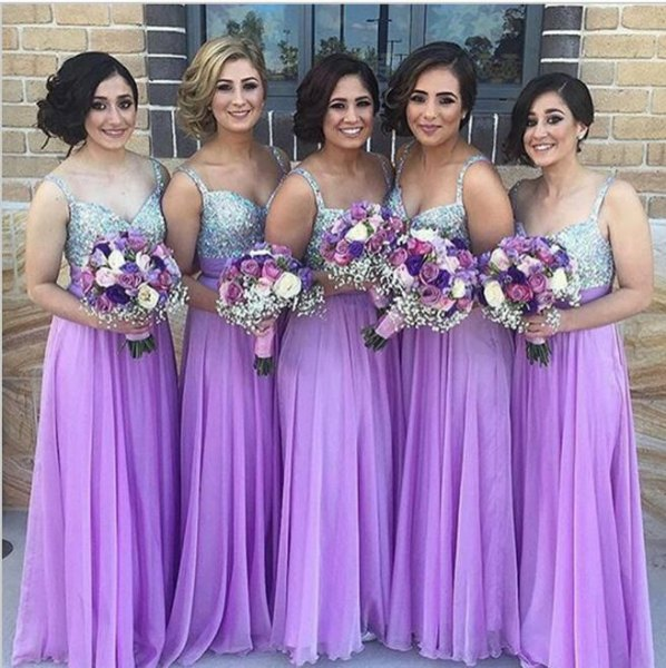silver and purple chiffon pleated maxi bridesmaid dress