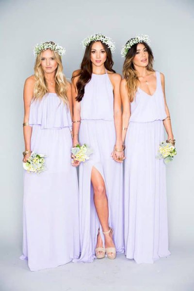 Bright purple gathered bridesmaid waist dress