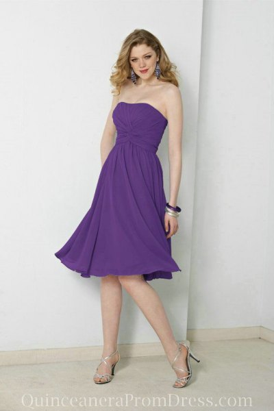 strapless fit and flare chiffon bridesmaid dress