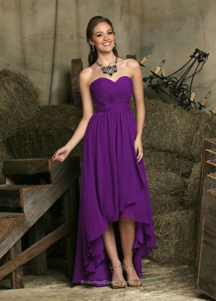 purple strapless high dress with low chiffon