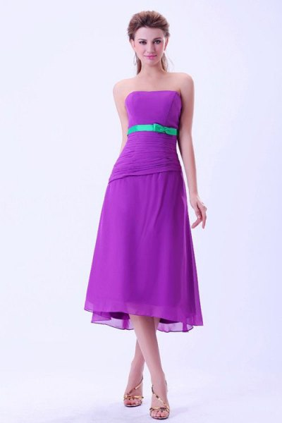 purple strapless midi bridesmaid dress