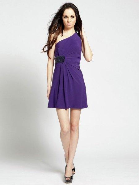 a shoulder faux wrap dress