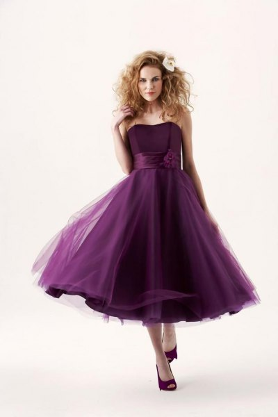 dark purple strapless chiffon tulle bridal gown