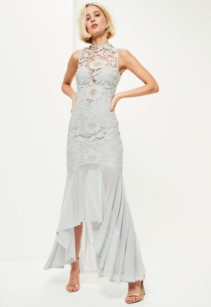 gray lace dress with asymmetrical fish star