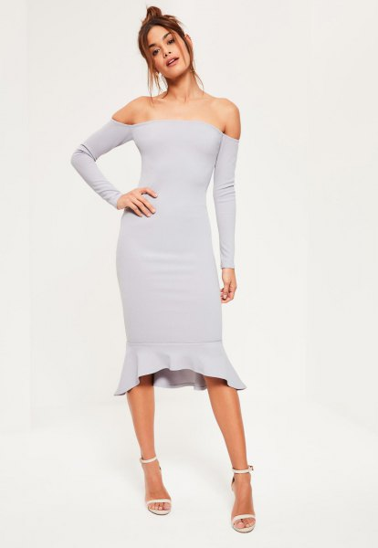 of shoulder gray bodycon midi dress