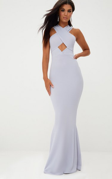 light blue maxi dress with a cross neck