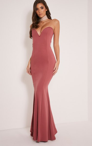 pink strapless deep v-neck maxi fishtail dress