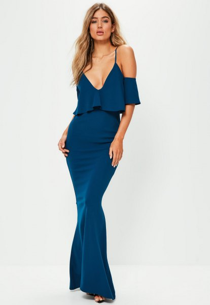 blue fishtail maxi dress ruffle top design