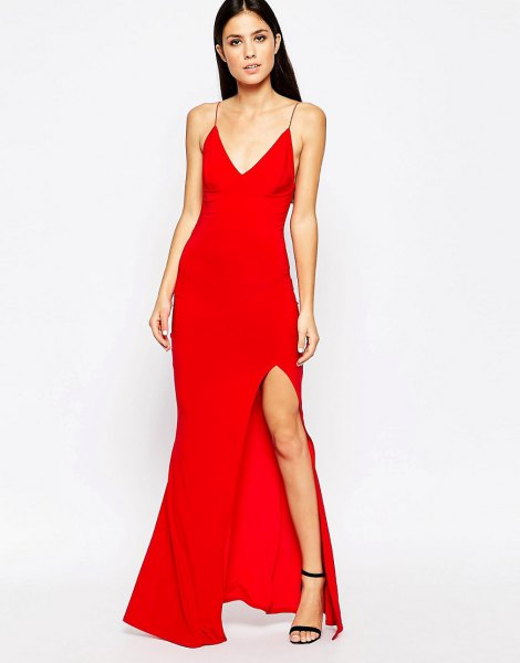 red deep v-neck high split fish star dress