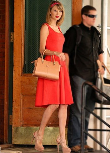 red fit and flare cocktail dress