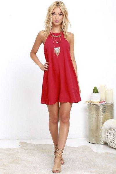red change dress boho style statement necklace