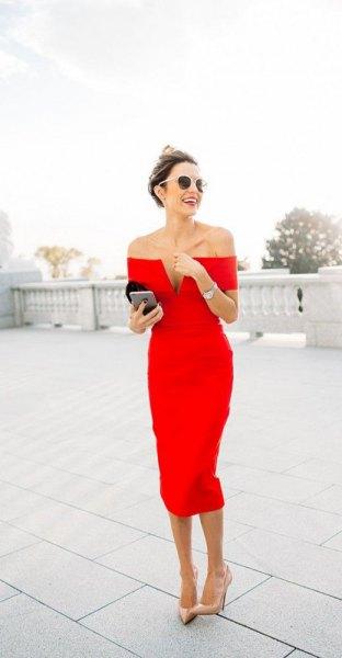 of the shoulder deep midi dress in the v-neck