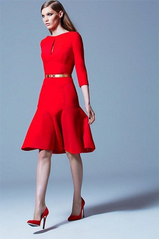 three quarter red fit and flare belt dress