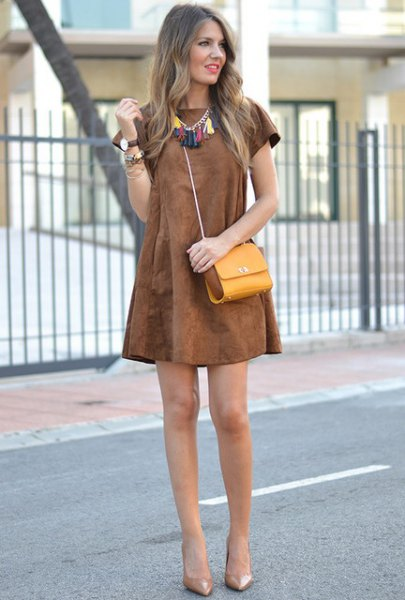brown dress boho style statement necklace