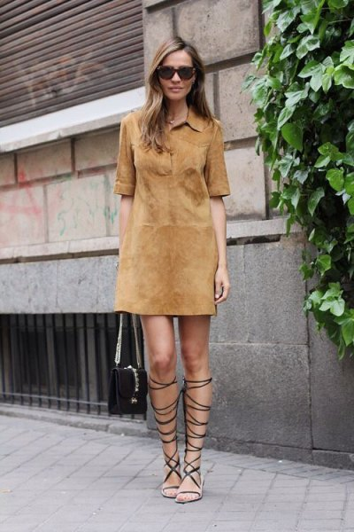 camel suede shirt dress gladiator sandals