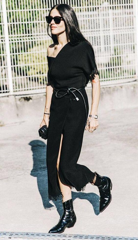 cowboy boots black wrap dress