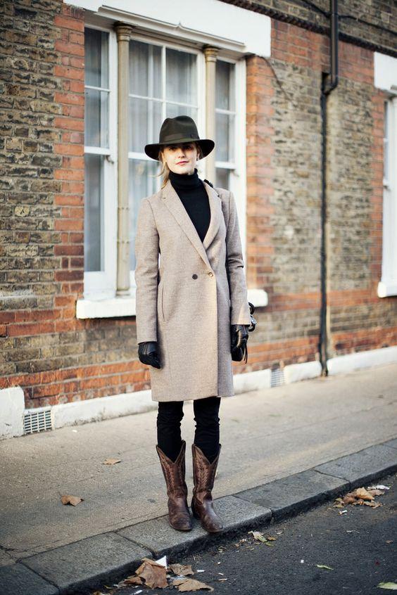 cowboy boots camel skirt