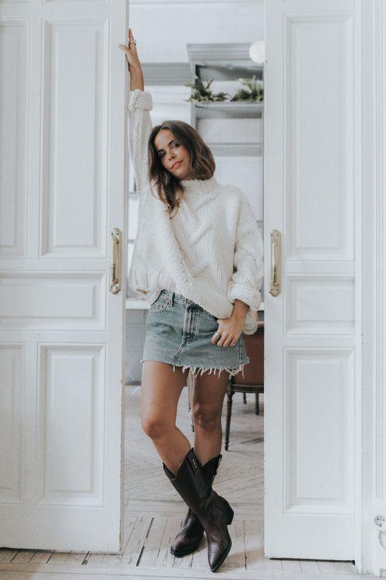 cowboy boots denim skirt