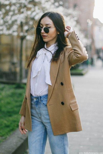 white rosette blouse camel wool blazer