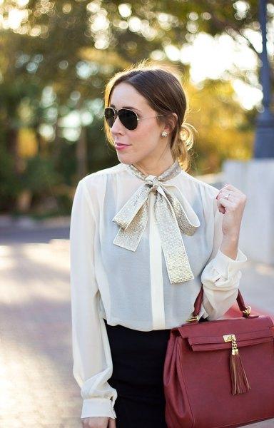white semi pure chiffon blouse gold bow