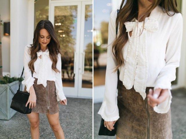 white bow blouse gray matte leather mini skirt