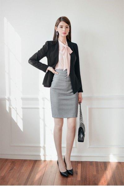 black blazer gray pencil skirt outfit