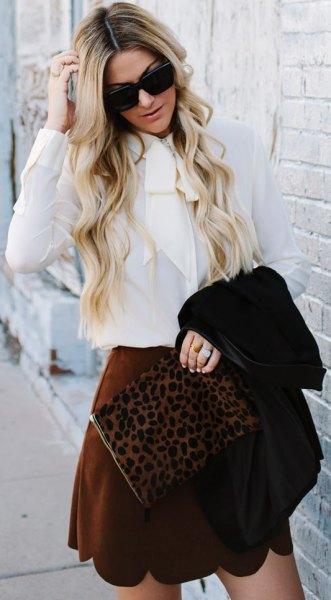 white blouse burgundy peeled neckline in min