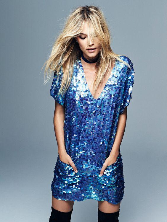 blue sparkly dress v-neck