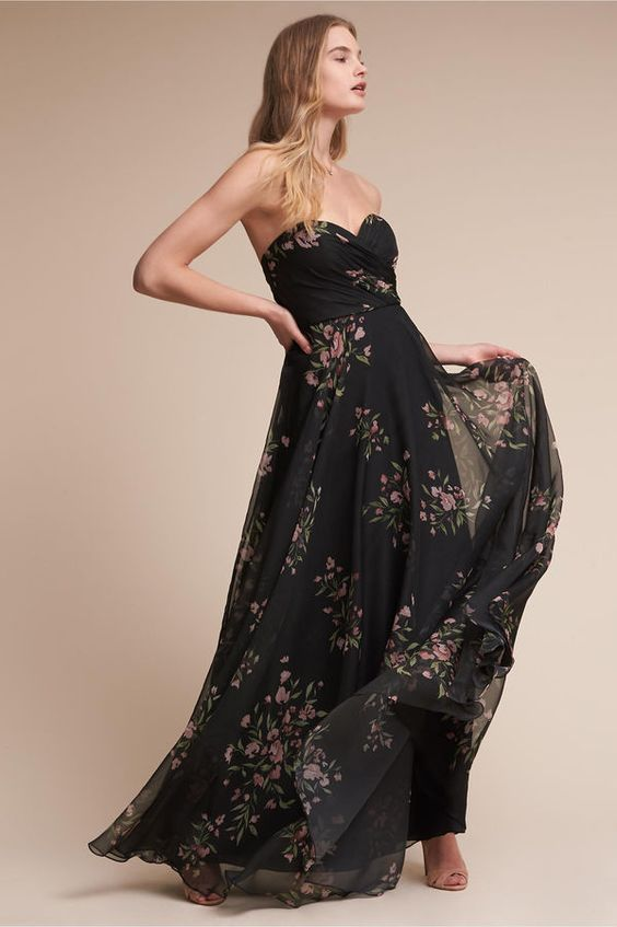 black strapless dress casual floral