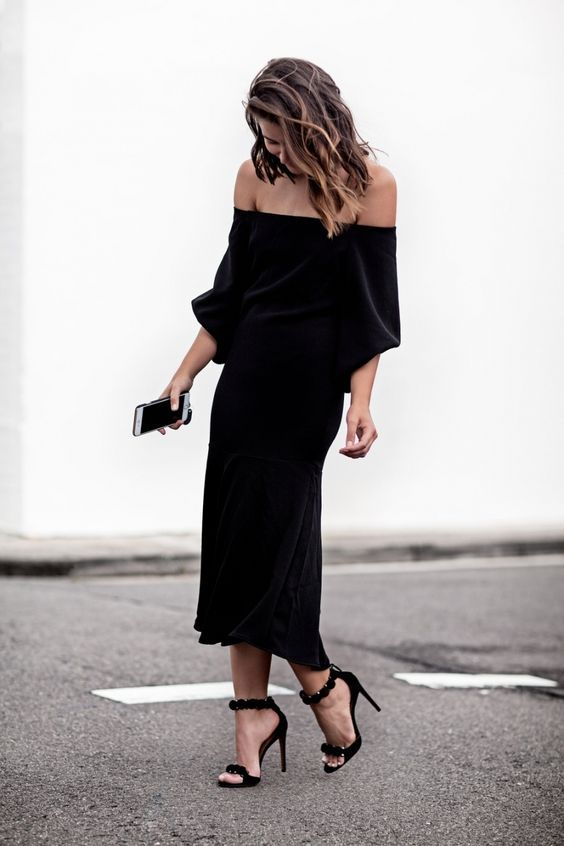 black strapless dress casual