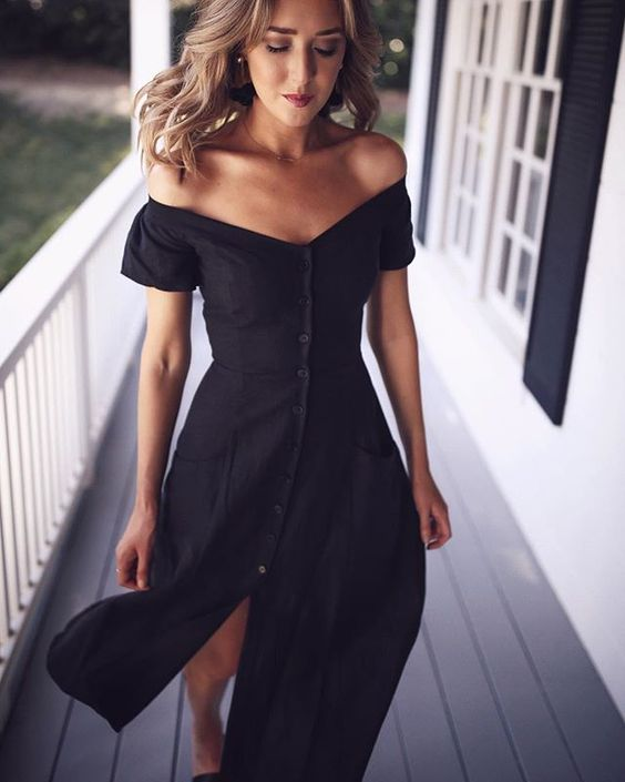 black strapless dress casual button