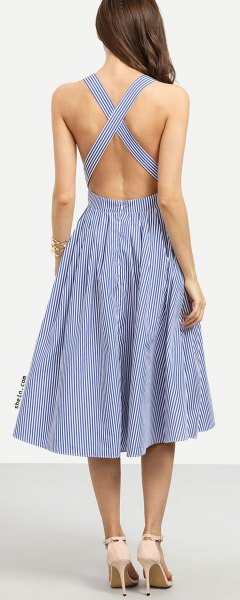 navy and white striped criss cross midi dress