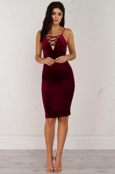 burgundy velvet criss cross body skirt dress
